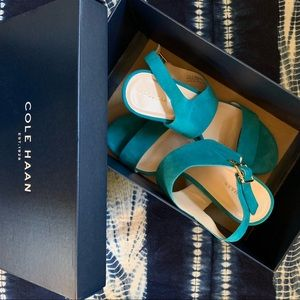 Cole Haan Turquoise Suede Block Heels